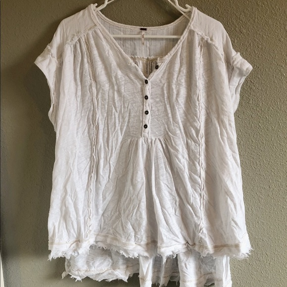 Free People Tops - Free People White Oversized Henley Tee